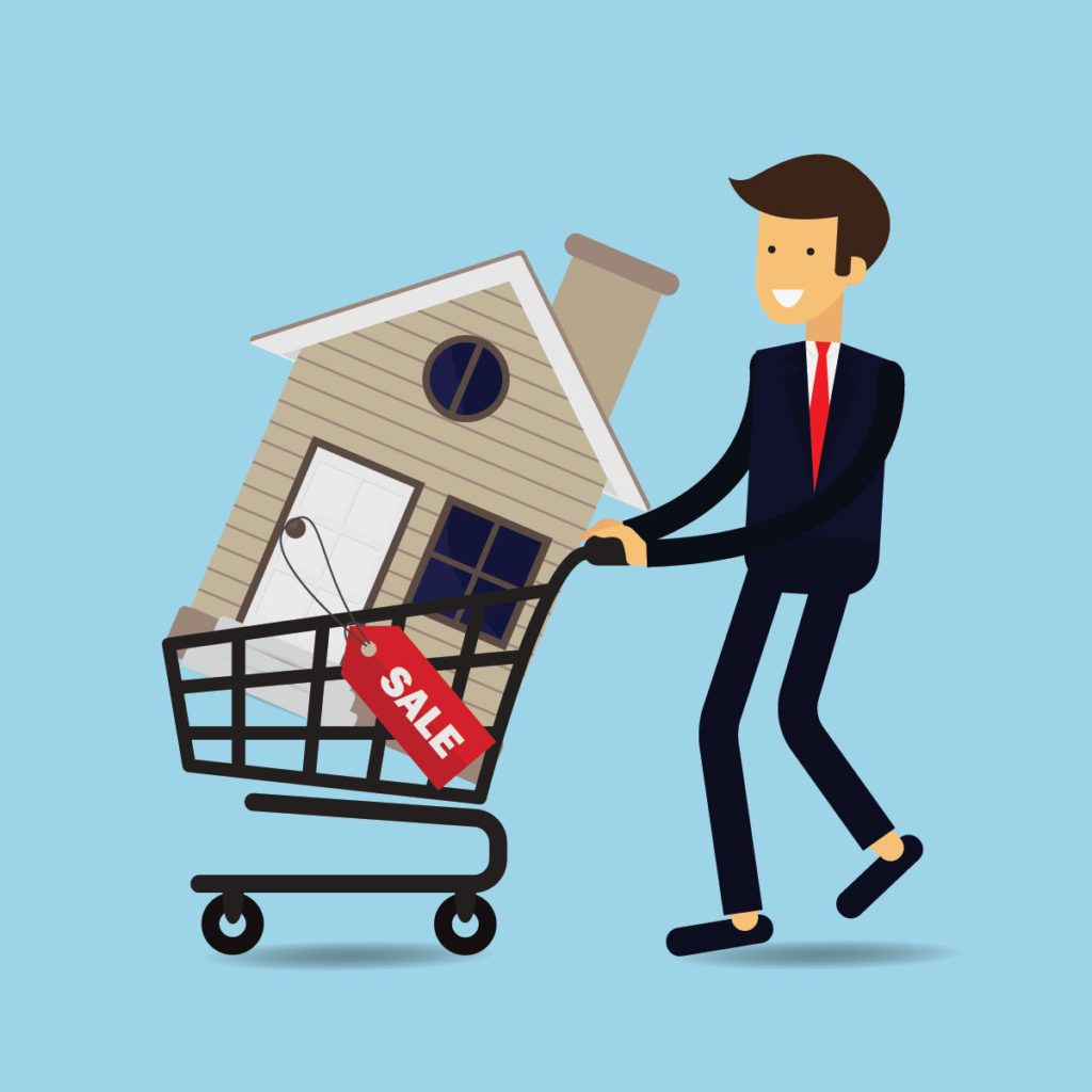Illustration of a man pushing a grocery cart with a house inside it | Construction Pro Tips
