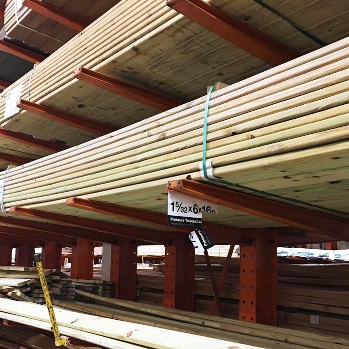 Treated lumber Aisle at home center | Construction Pro Tips