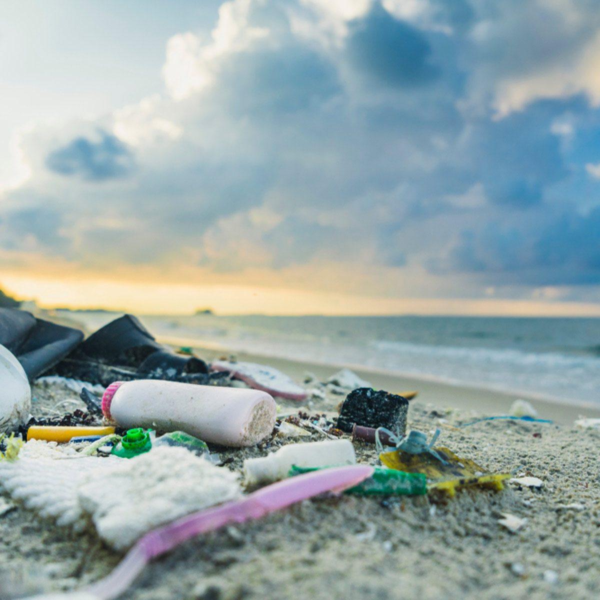 ocean plastic garbage on beach