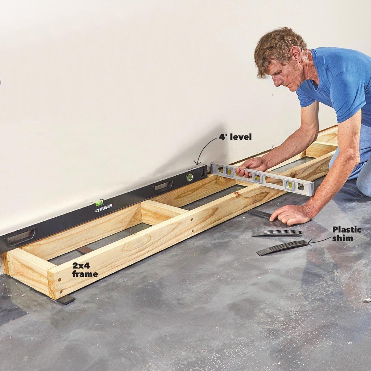 level base garage built in cabinets