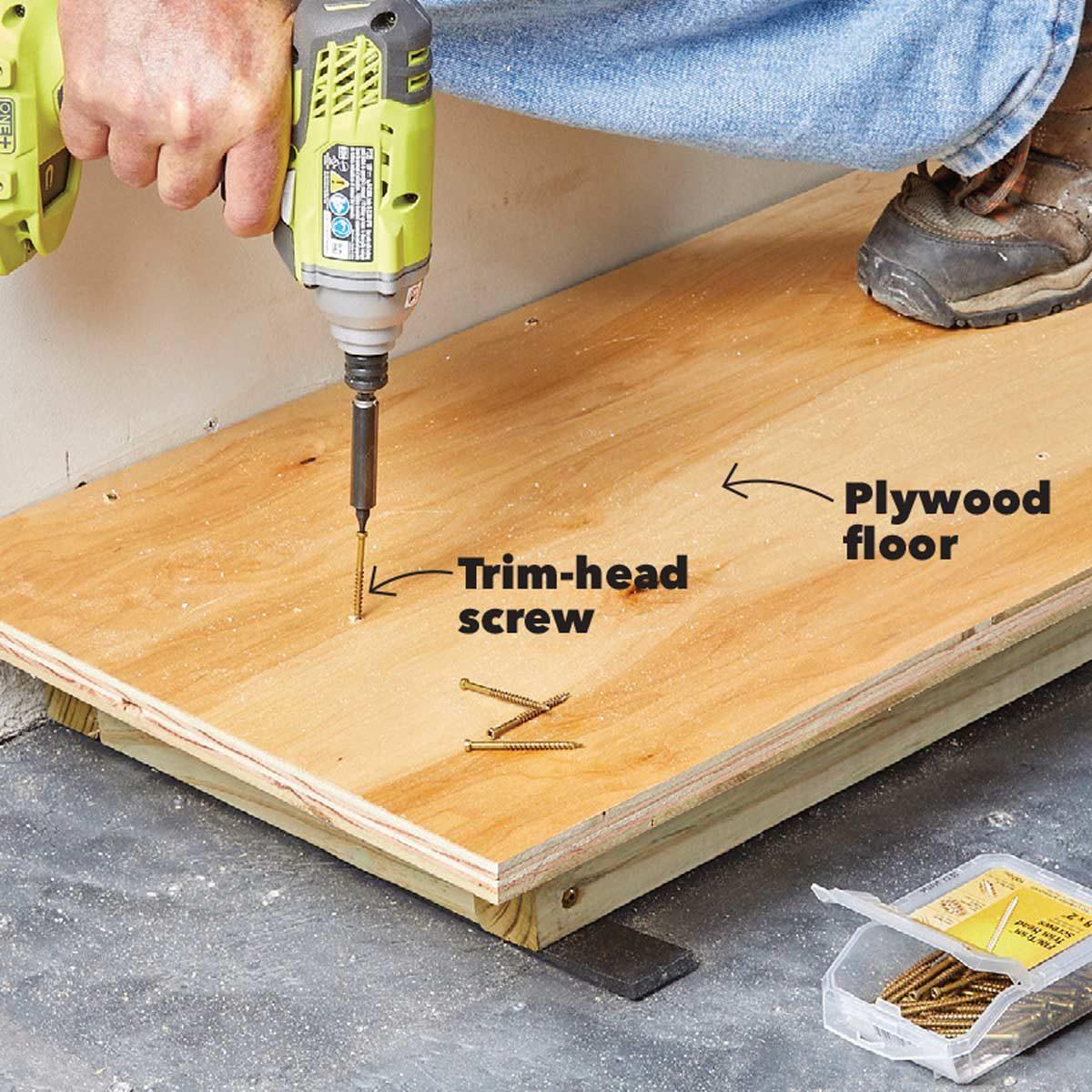 attach garage built ins to the floor