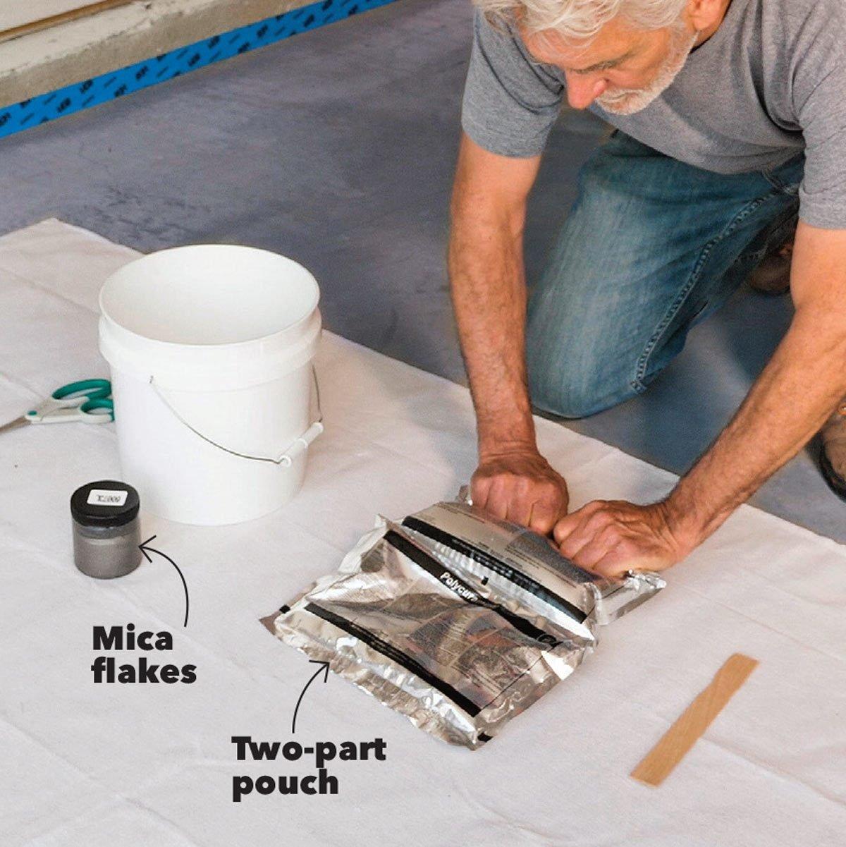 mix garage floor coating