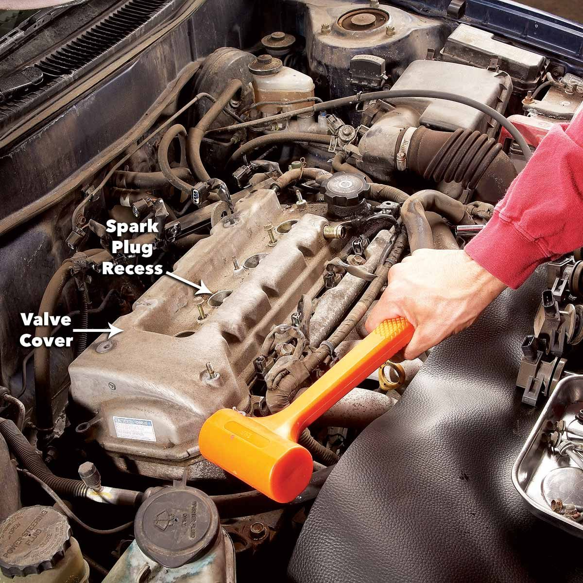 Tap the cover loose fix a valve cover gasket leak