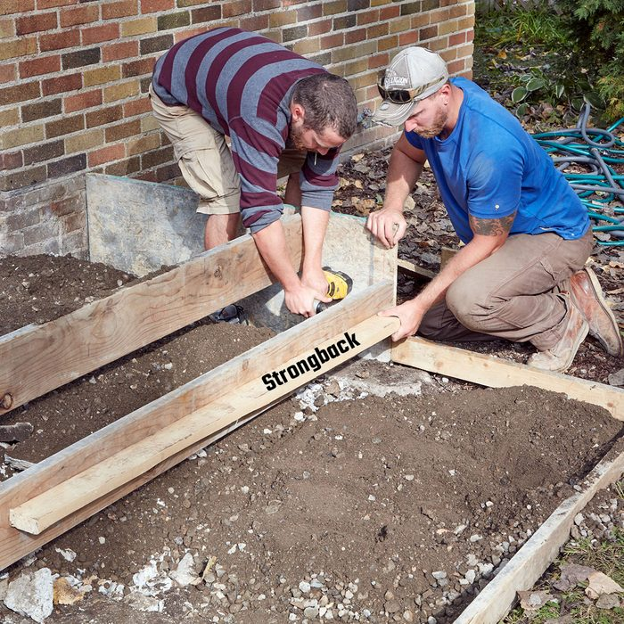 Reinforcing the step form board with strongback   Construction Pro Tips