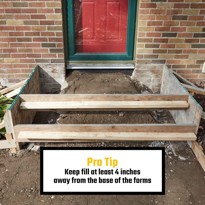 Properly filled in concrete stoop forms   Construction Pro Tips