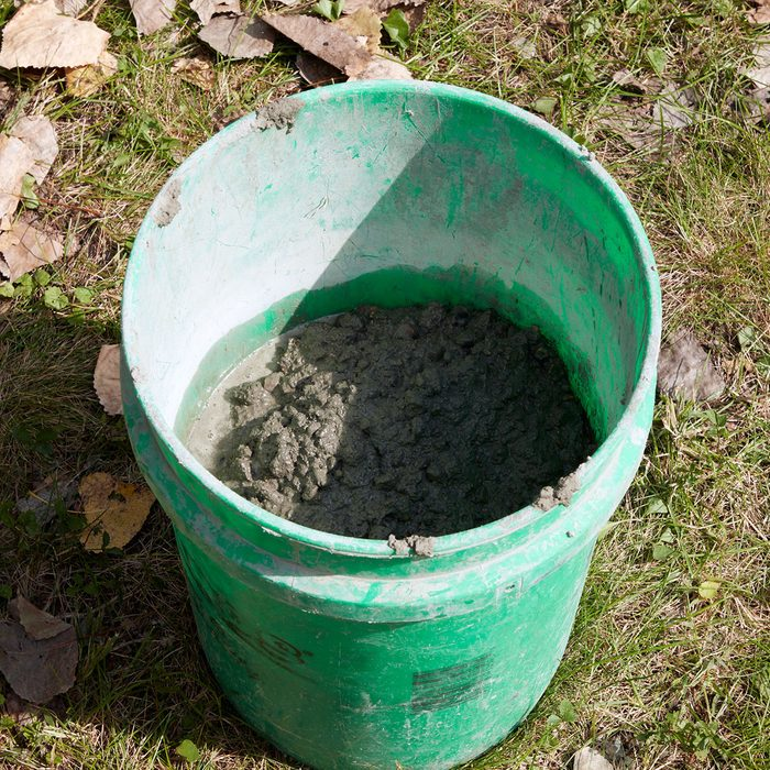 An extra bucket of concrete for later   Construction Pro Tips