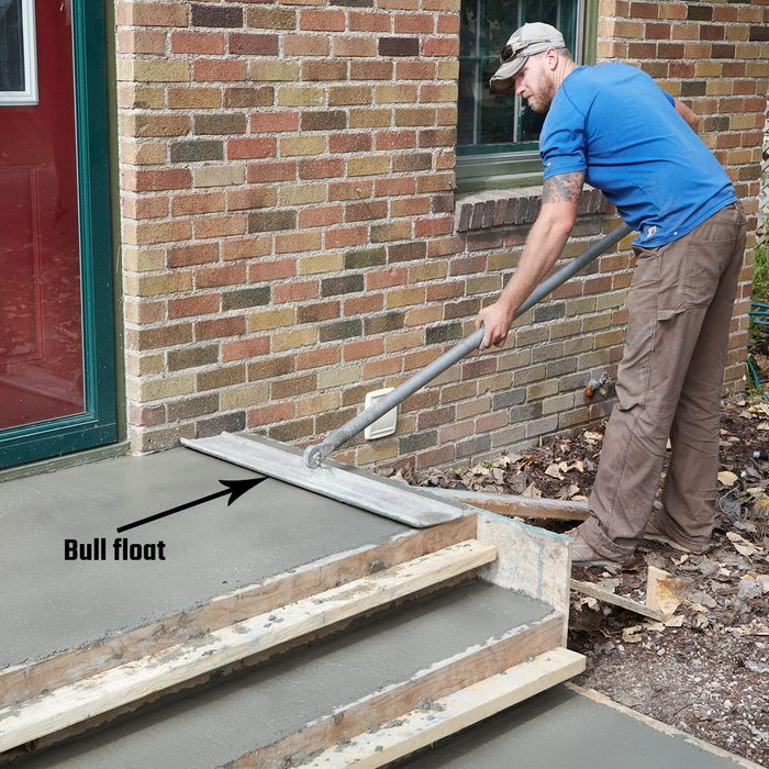 Bull float the top of the steps   Construction Pro Tips