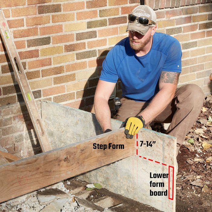 Putting the step form in place   Construction Pro Tips