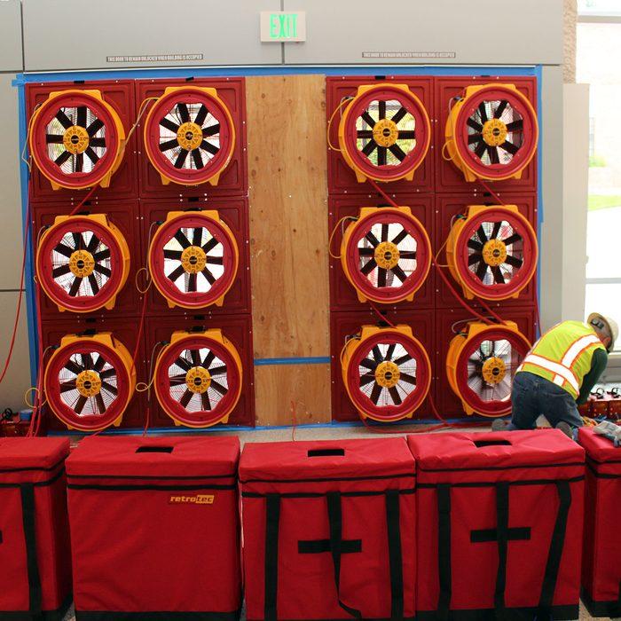 A giant blower door test set up   Construction Pro Tips