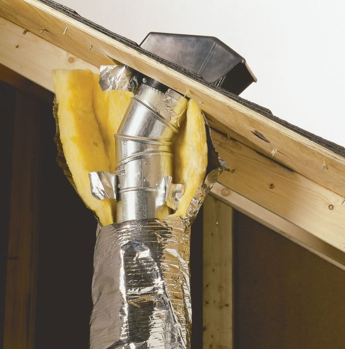 Vent duct properly routed through a roof | Construction Pro Tips