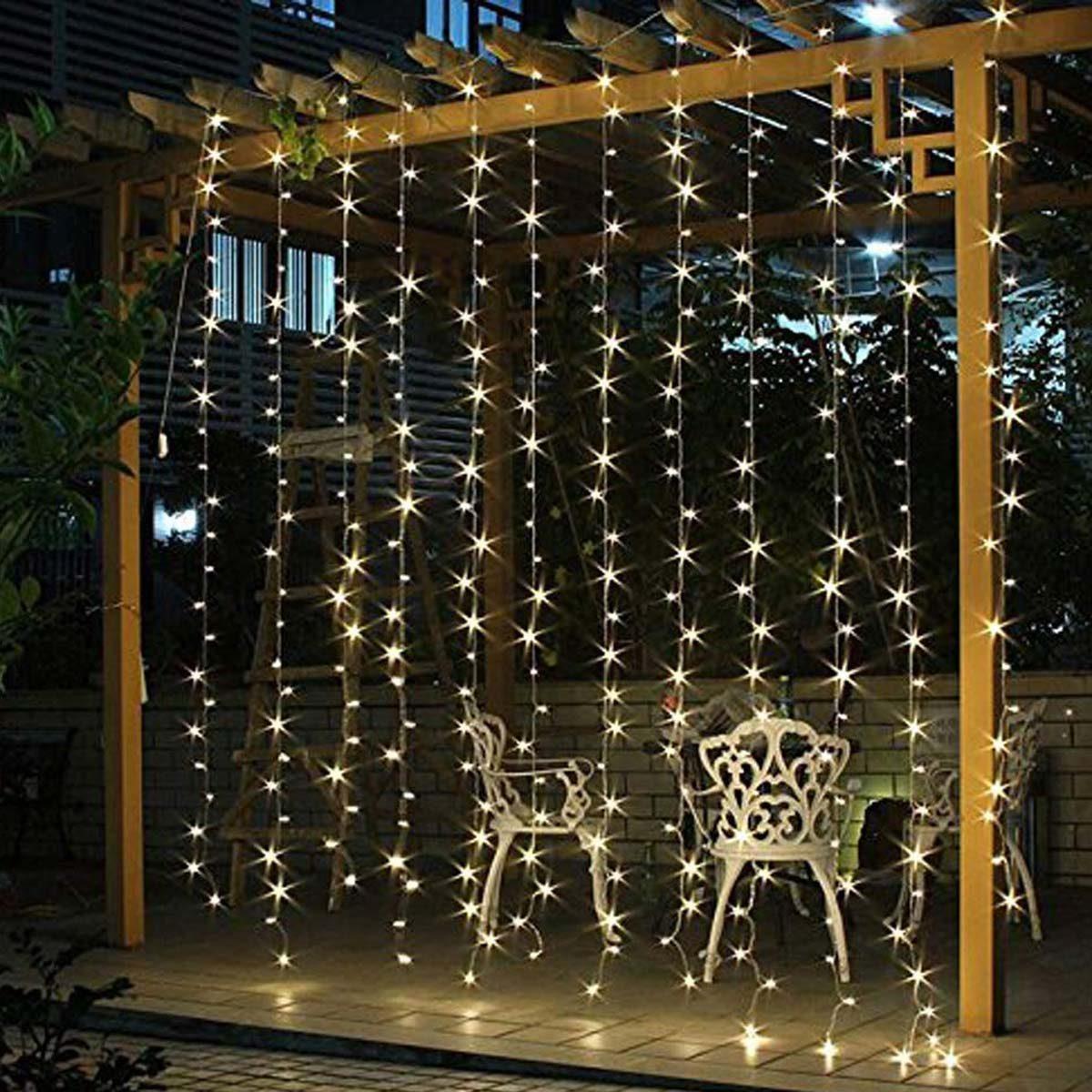 window curtain christmas lights