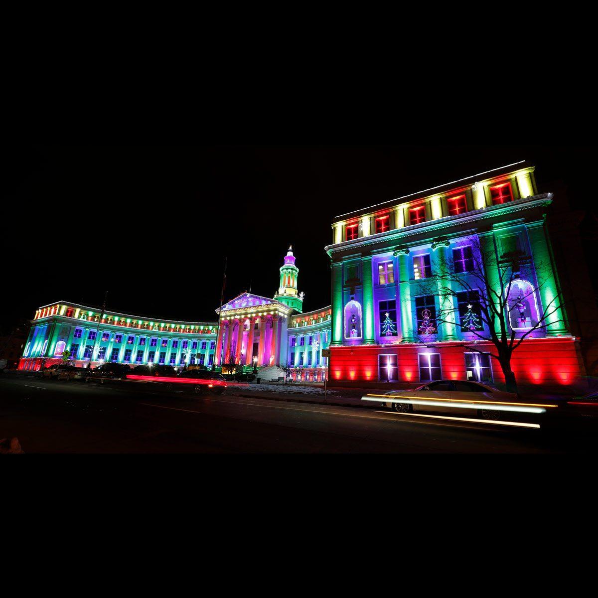 Denver City County Building Christmas Lights