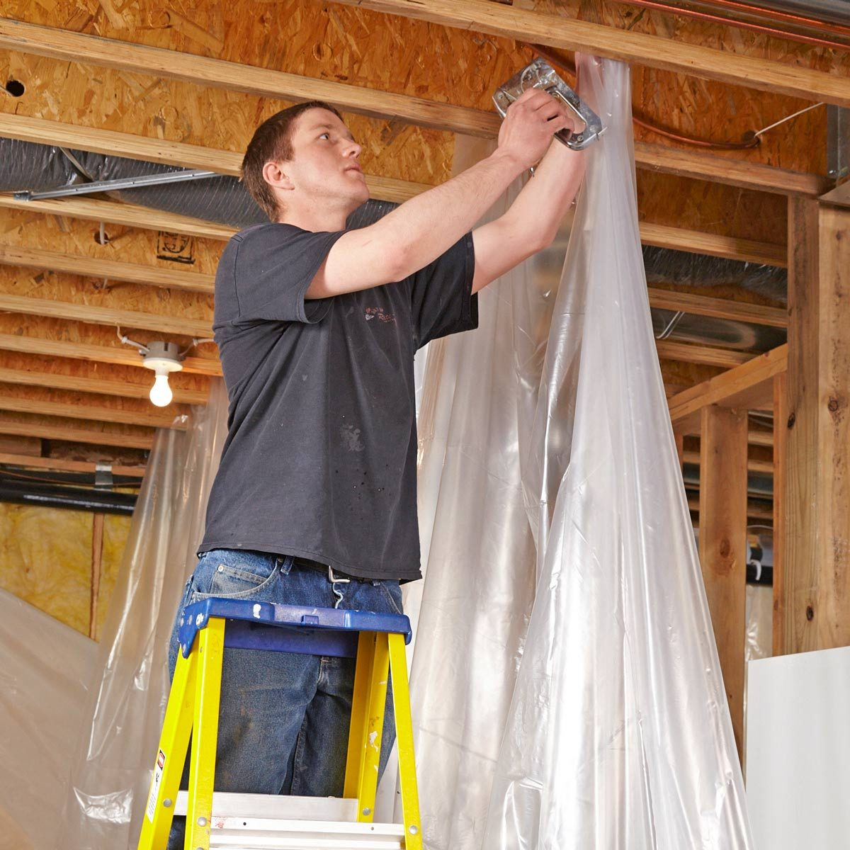 control dust with plastic sheeting