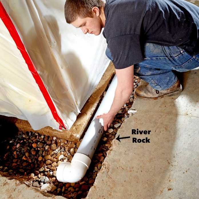 lay basement water drainage system pipe