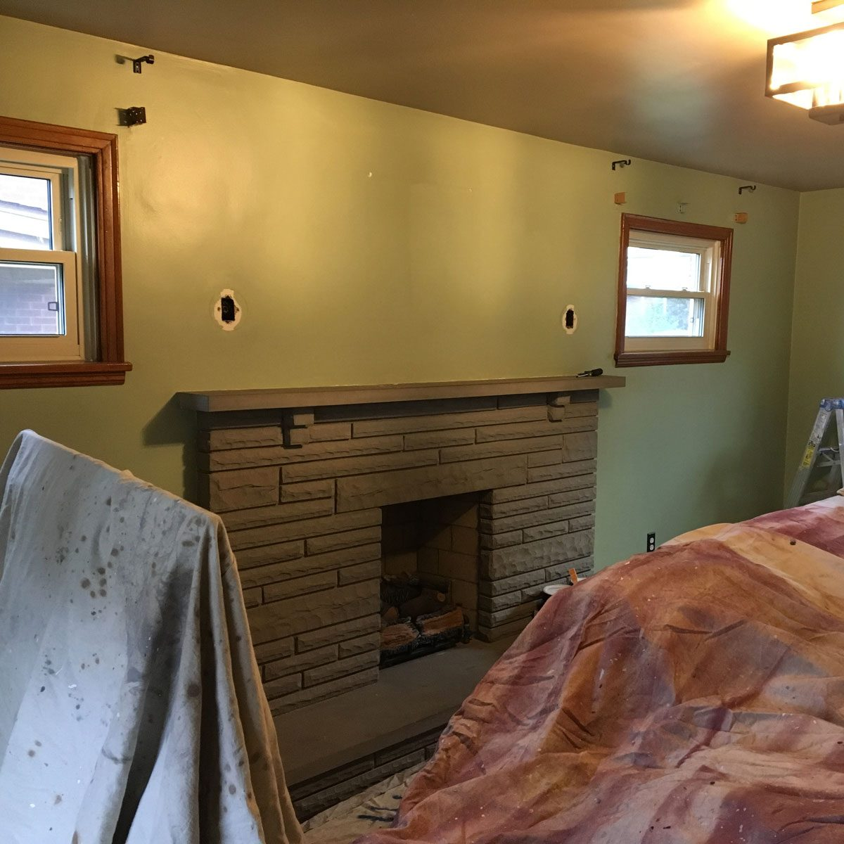 before fireplace makeover