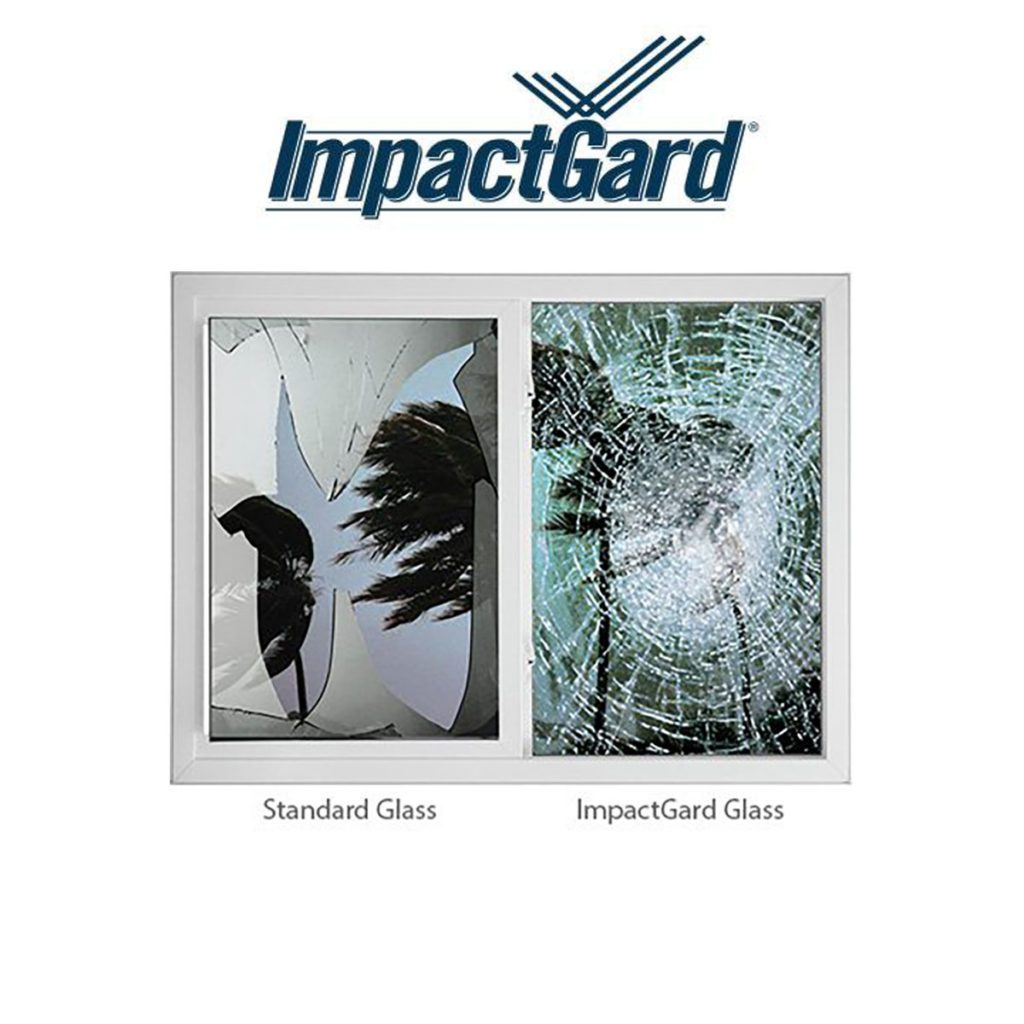 ImpactGard windows with the broken glass trapped in the frame | Construction Pro Tips