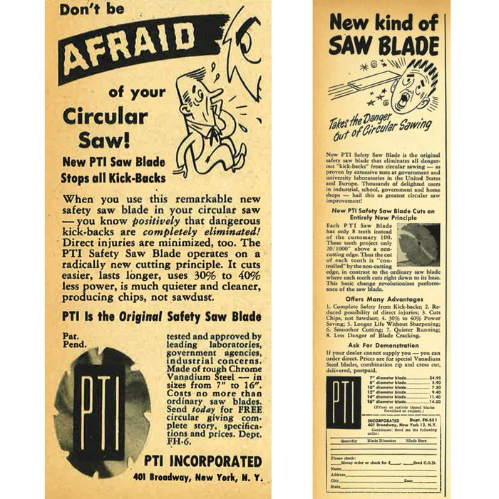 """Vintage ad for a circular saw blade that """"stopped all kickbacks"""" 