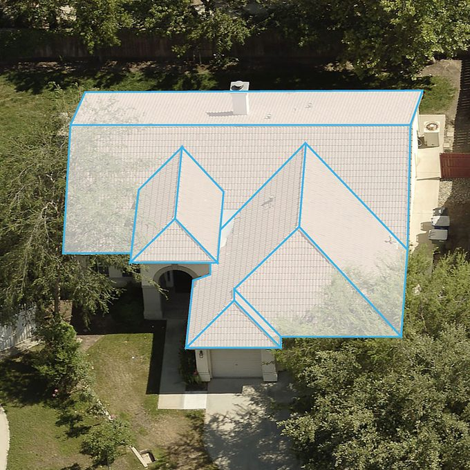 The top view of a house with a digital roof imposed on top | Construction Pro Tips