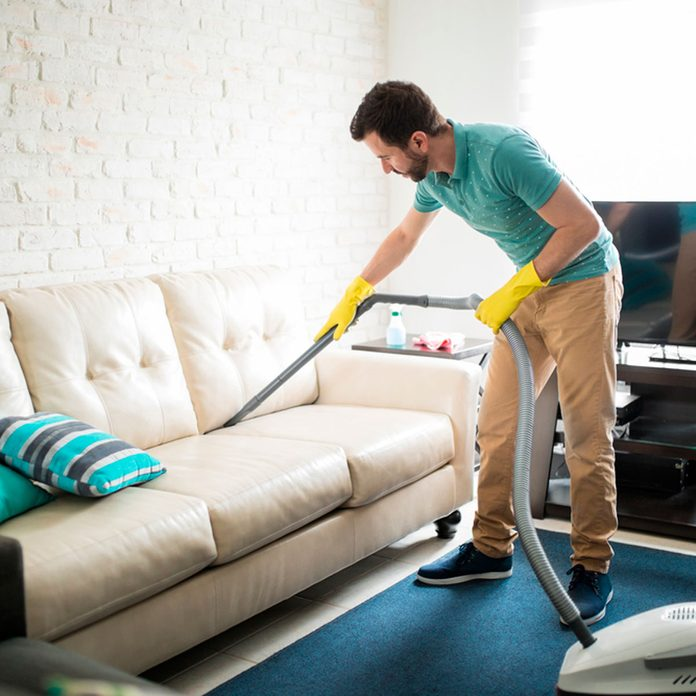cleaning the sofa