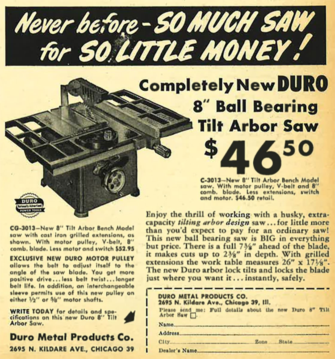 A vintage ad for a table saw | Construction Pro Tips