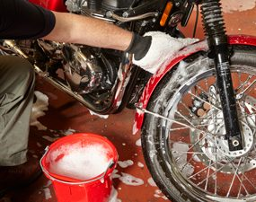 washing a motorcycle