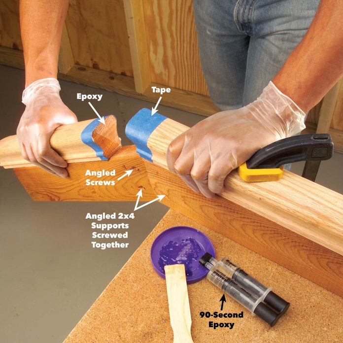 glue handrail joint with epoxy