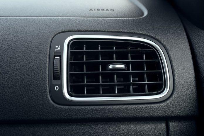 Car air conditioning. The air flow inside the car. Detail interior of car