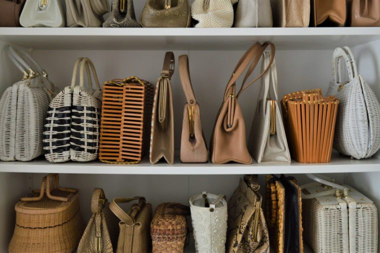 Organized natural color vintage handbag collection