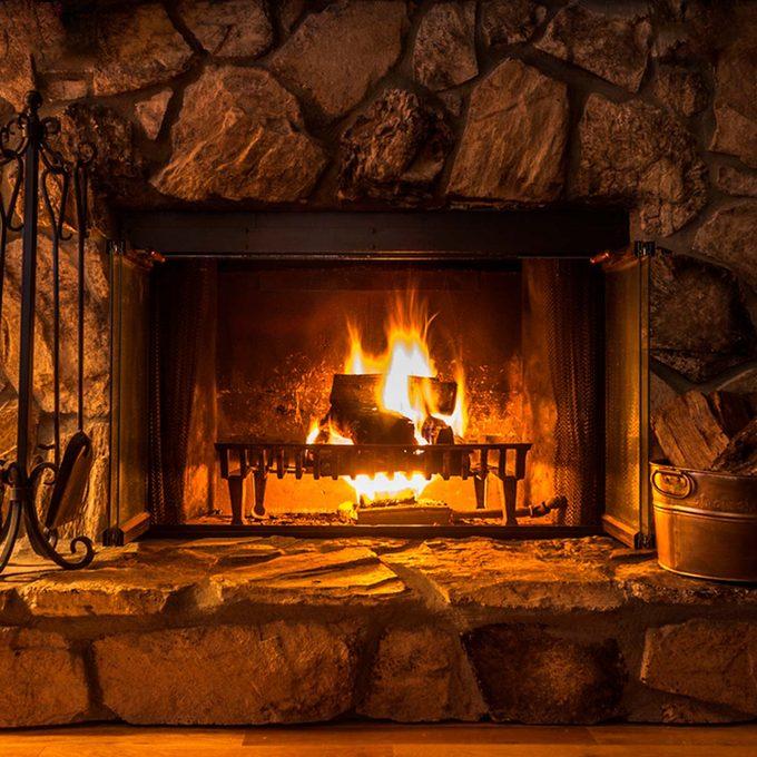 fire in fireplace