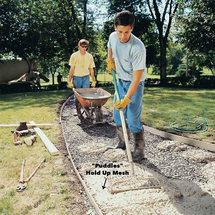 pour concrete sidewalk
