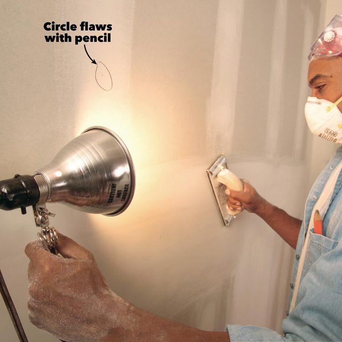 drywall sanding shine light on flaw areas