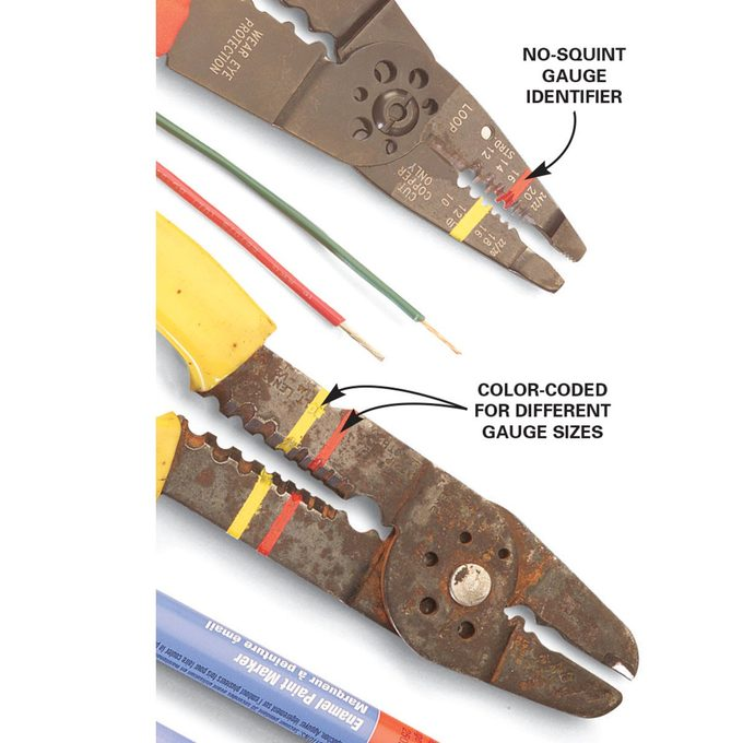 Different color for different gauge sizes on a wire stripper   Construction Pro Tips