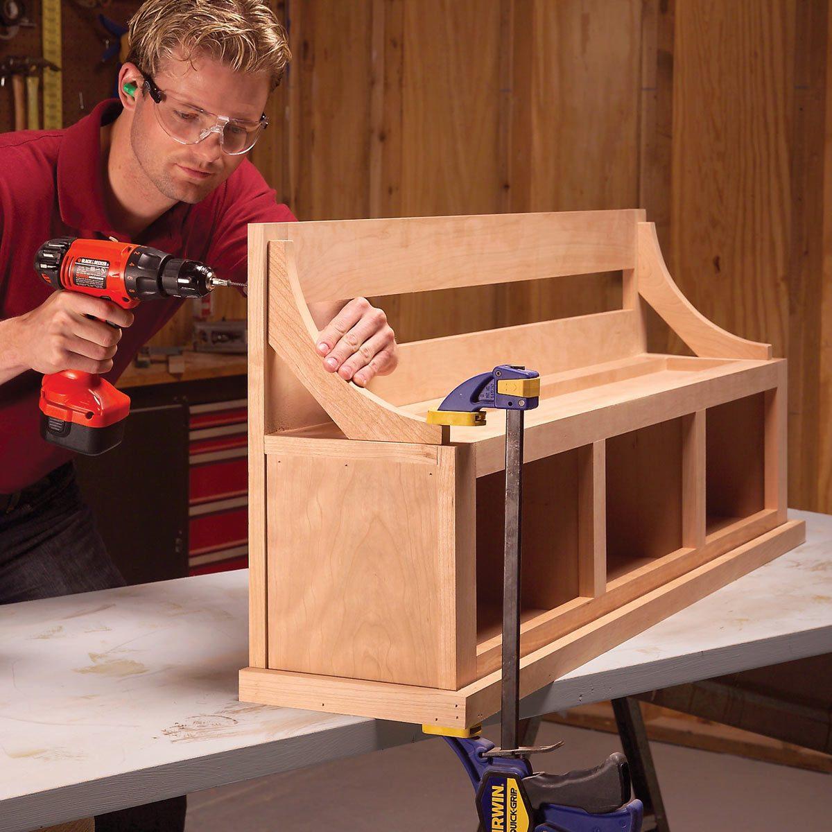 coat rack and storage bench