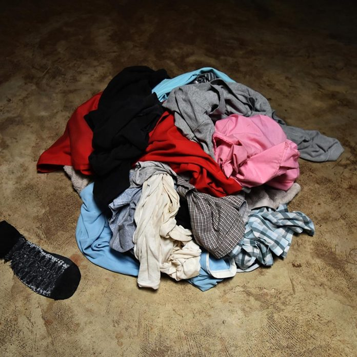 dirty laundry pile