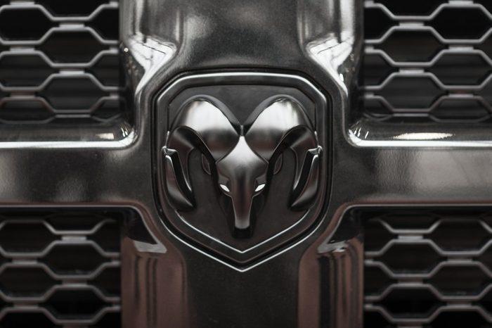 BOLOGNA, ITALY - CIRCA DECEMBER, 2017: Close up of Dodge logo.
