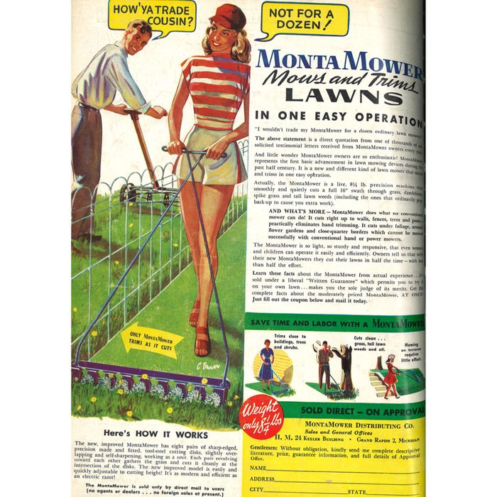 An ad for a fancy oldschool lawnmower   Construction Pro Tips
