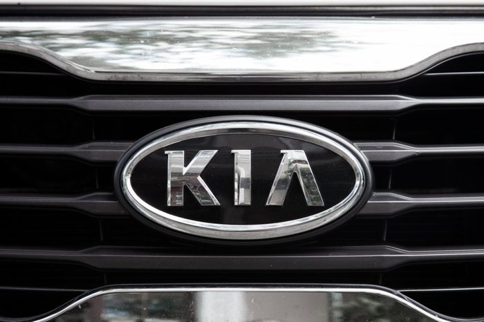 ODESSA, UKRAINE - AUGUST 13, 2017: Kia motors logo and badge on the car