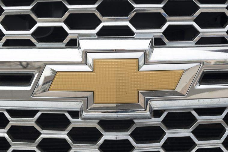 Phoenix, Arizona, USA - March 06, 2016: Close up of Chevrolet logo on pick-up.