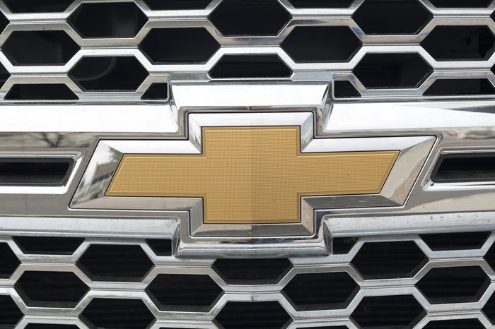 Phoenix, Arizona, USA - March 06, 2016: Close up of Chevrolet logo on pick-up.