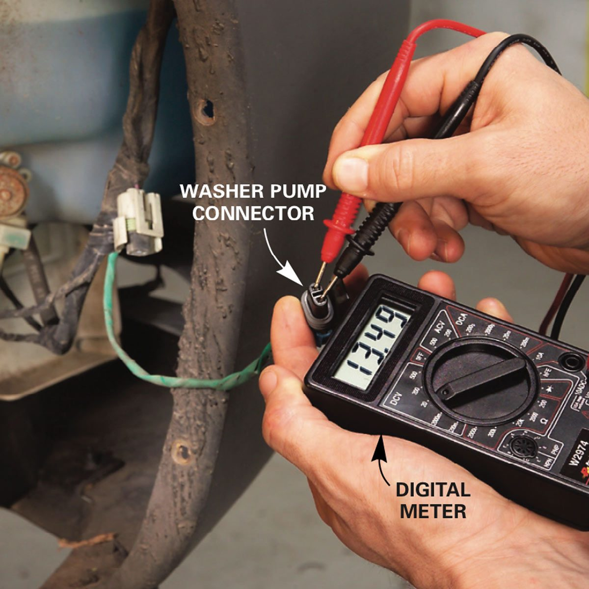 Check power with a washer pump connector