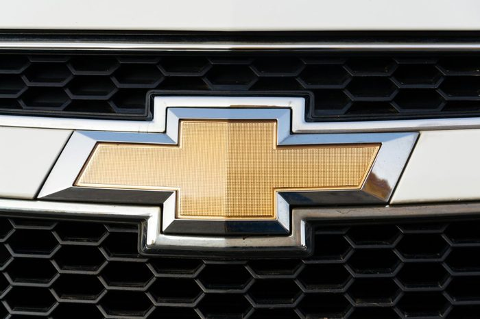 PRAGUE, CZECH REPUBLIC - MARCH 25 2018: Chevrolet Division of General Motors Company logo on silver car on March 25, 2018 in Prague, Czech Republic.