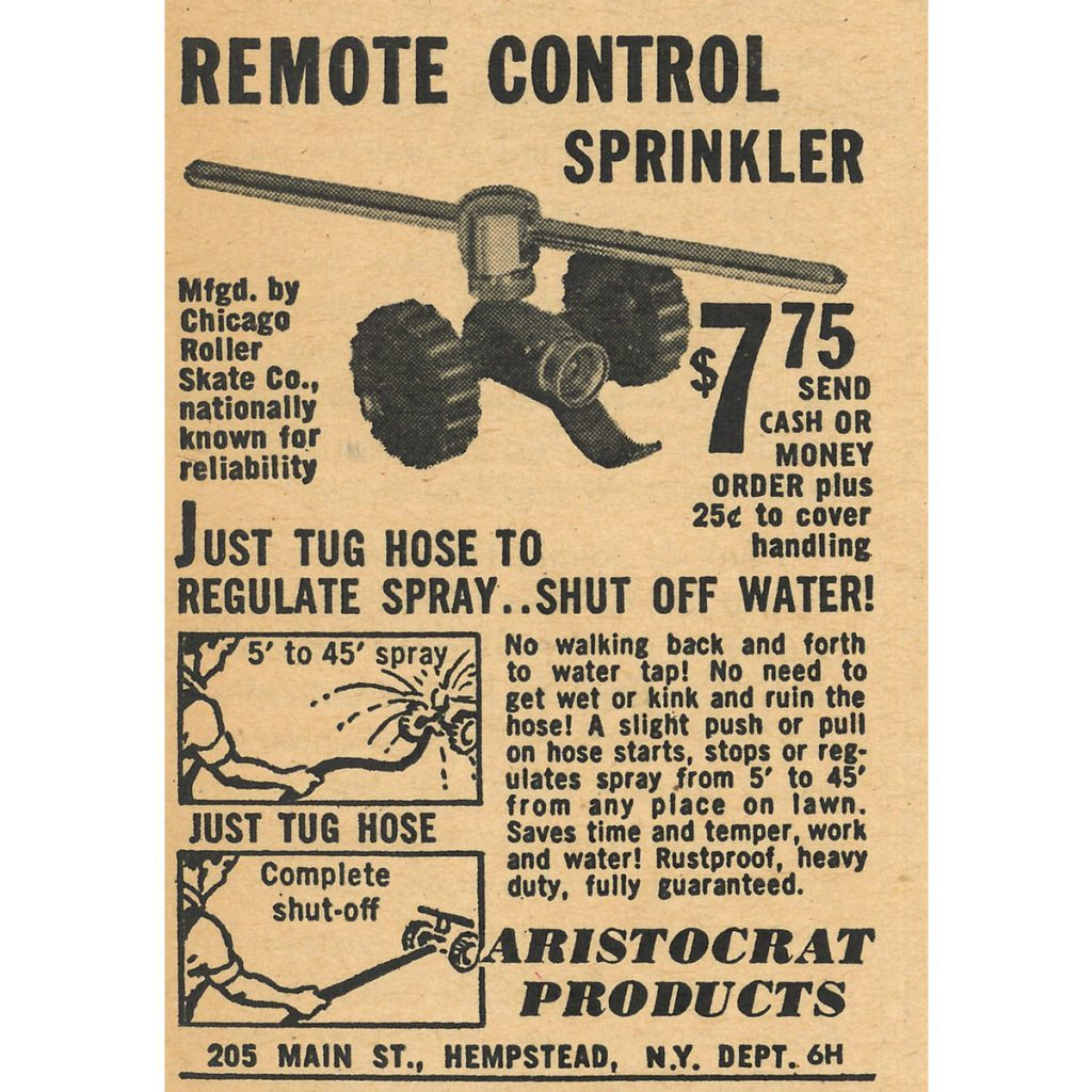 An ad for a remote control sprinkler   Construction Pro Tips