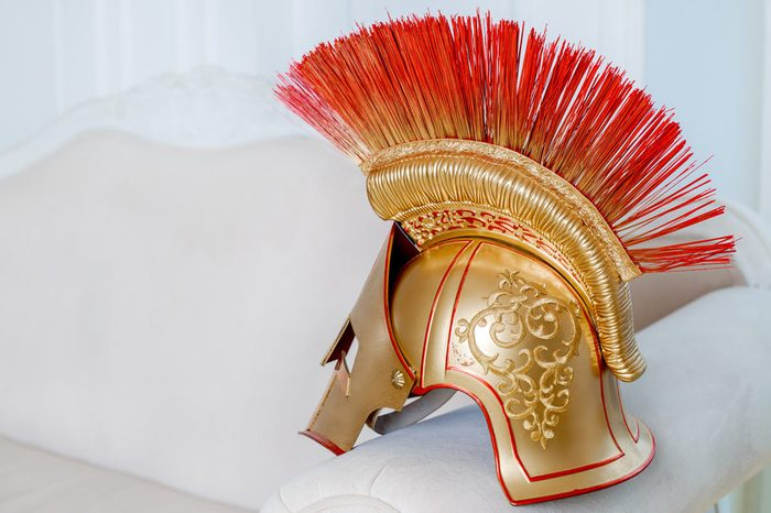 helmet of a gladiator, part of the stage costume