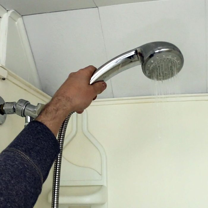 A shower head with poor water pressure | Construction Pro Tips