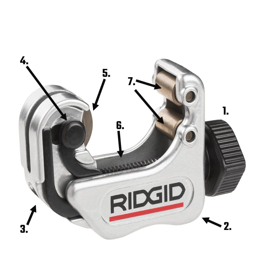 Ridgid pipe cutter with labeled parts | Construction Pro Tips