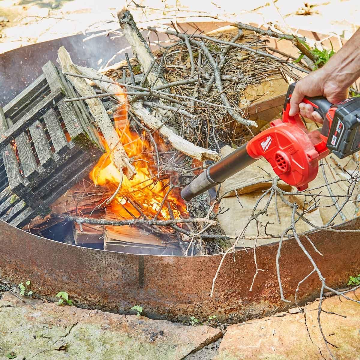 leaf blower to start fire