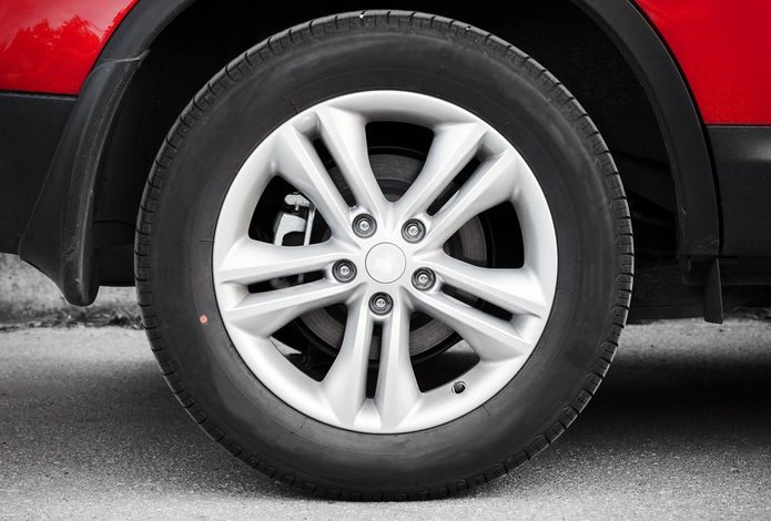 Modern automotive wheel on alloy disc