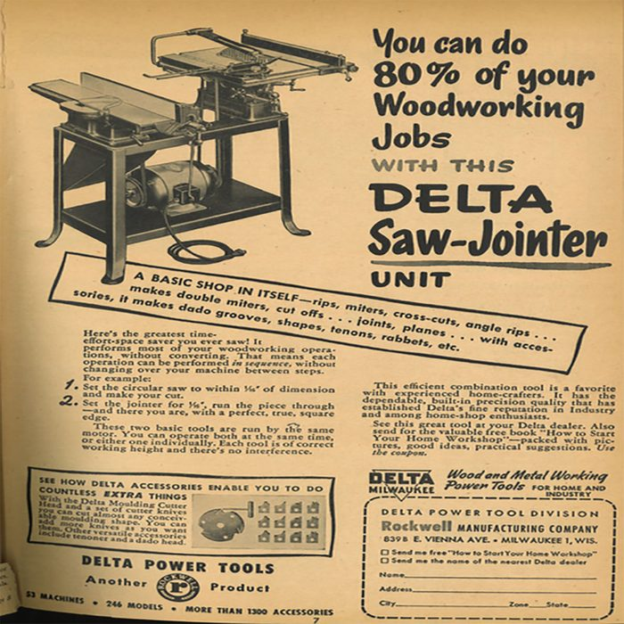 An ad for a Delta saw-jointer | Construction Pro Tips