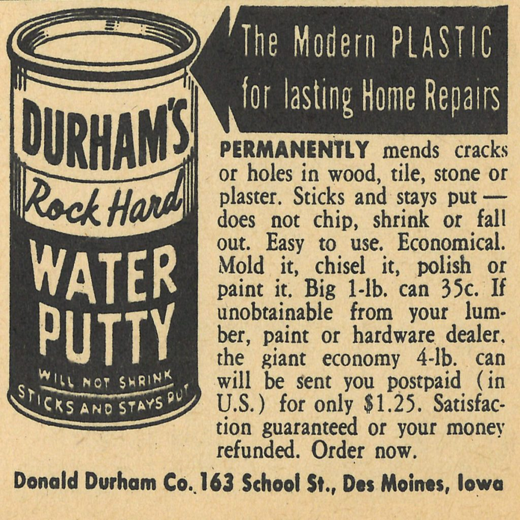 An ad for Durham's Rock Hard Water Putty | Construction Pro Tips