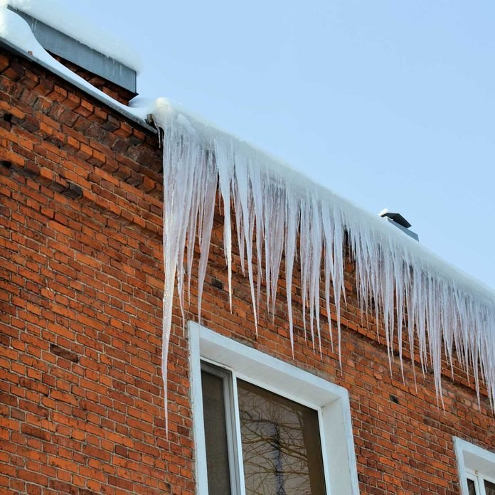 Ice dams on a brick house